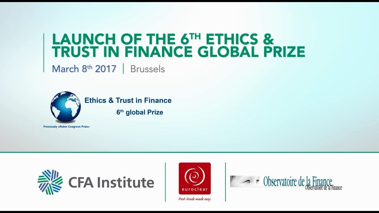 Ethics and trust in finance prize