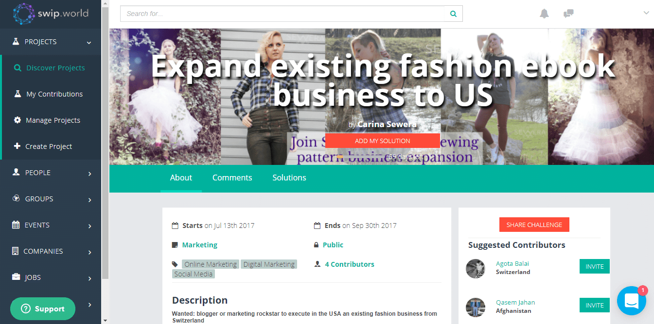 SWIP - Expand existing fashion ebook business to US challenge
