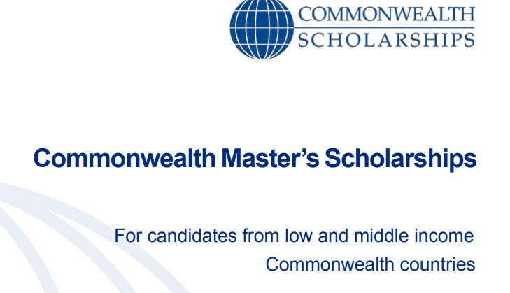 Commonwealth Master's Scholarships 2020 for Low and middle income Commonwealth countries