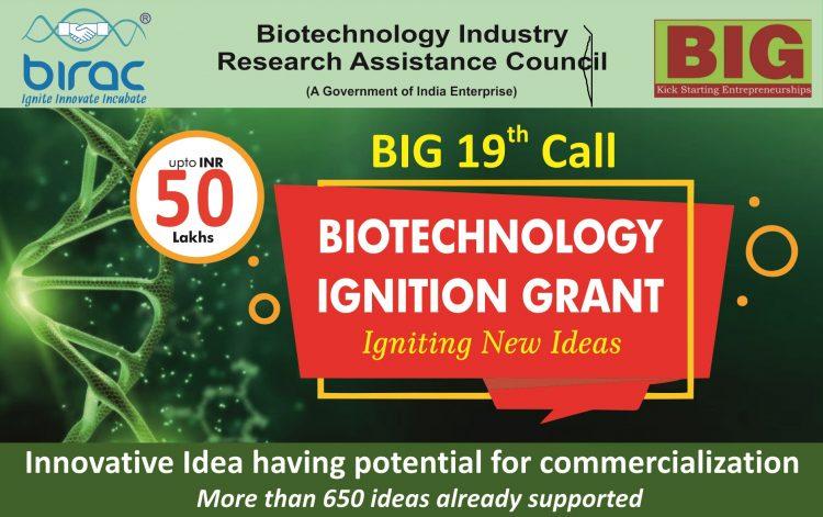 BIRAC BIG 19th Call Incubator Program