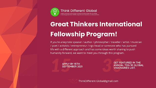 Great Thinkers International Fellowship 2021 Program